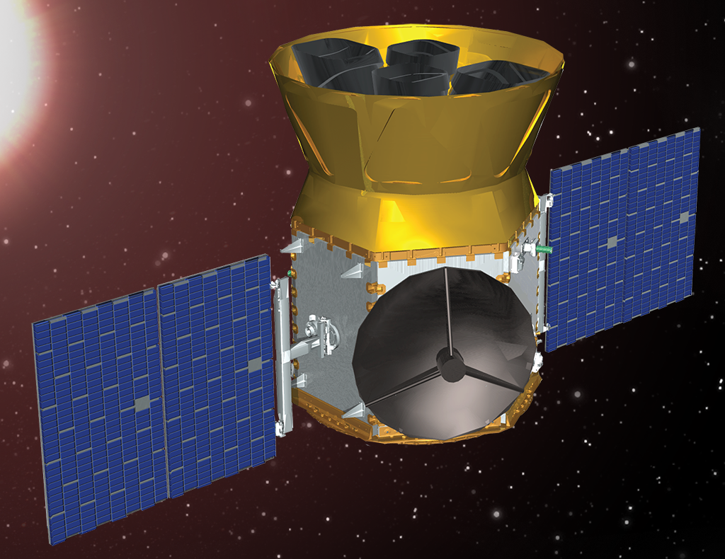 An illustration of the Transiting Exoplanet Survey Satellite (Model courtesy of the TESS Team)