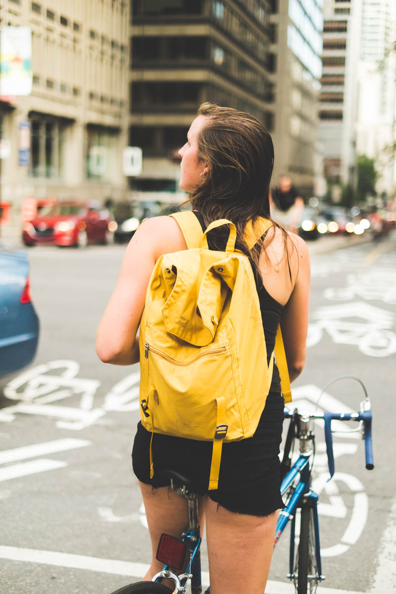 The Girl with the yellow backpack