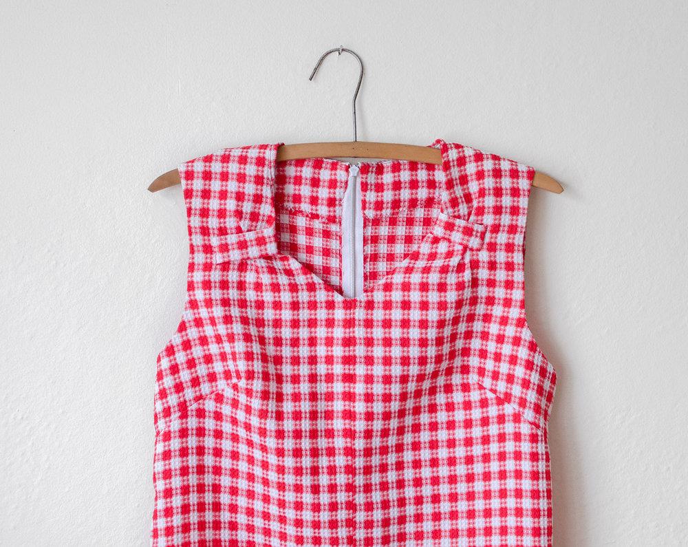 Vintage 60s pink gingham dress  1960s shift dress  sleeveless linen dress  vintage summer dress