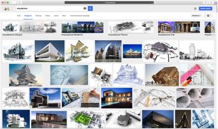 """Imagen 1: Impresión de pantalla al realizar una búsqueda el 17 de febrero del 2016 en Google introduciendo la palabra """"Arquitectura"""". Se muestran 26 resultados, de los cuales, 7 son proyectos reales, 15 son renders o imágenes producidas por computadora y 4 son fotografías que supuestamente remiten al oficio de un arquitecto."""