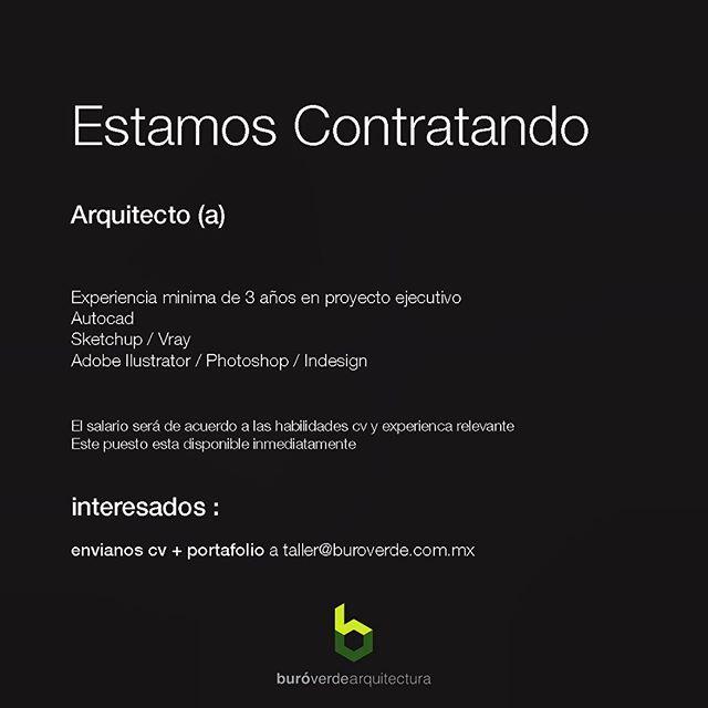 Buscamos arquitecto, con experiencia en desarrollo ejecutivo, experiencia minima de 3 años, envíanos tu cv y portafolio a taller@buroverde.com.mx  #arquitectura #arquitecturaydiseño #arquitecturamx  #tallerdearquitectura #estamoscontratando #arquitectos #arquitectosmexicanos #cdmx #coloniaroma #mexico #architecture