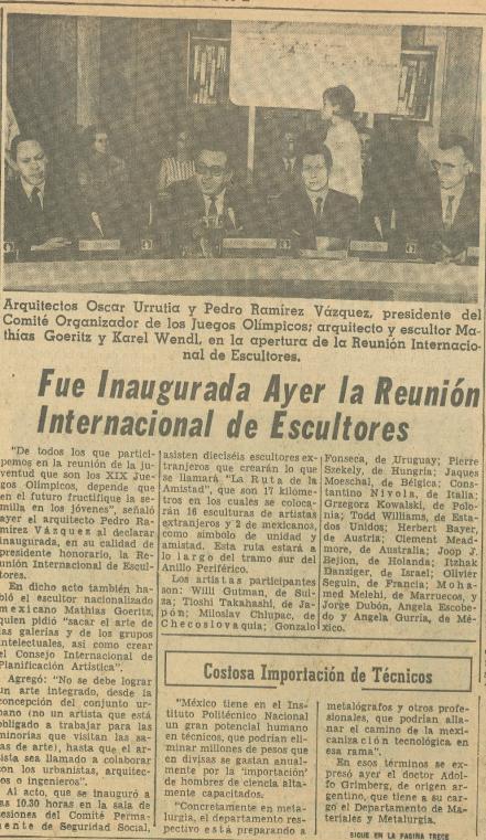 Articulo de El Universal, Octubre de 1968.