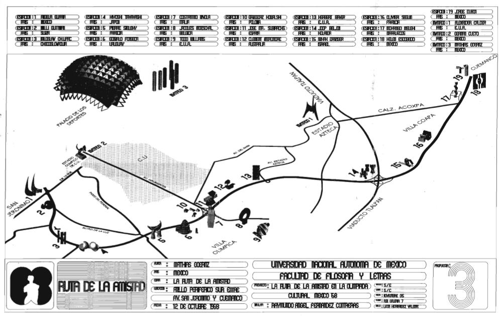 Plano de la ubicación de las distintas esculturas de la Ruta de la Amistad.