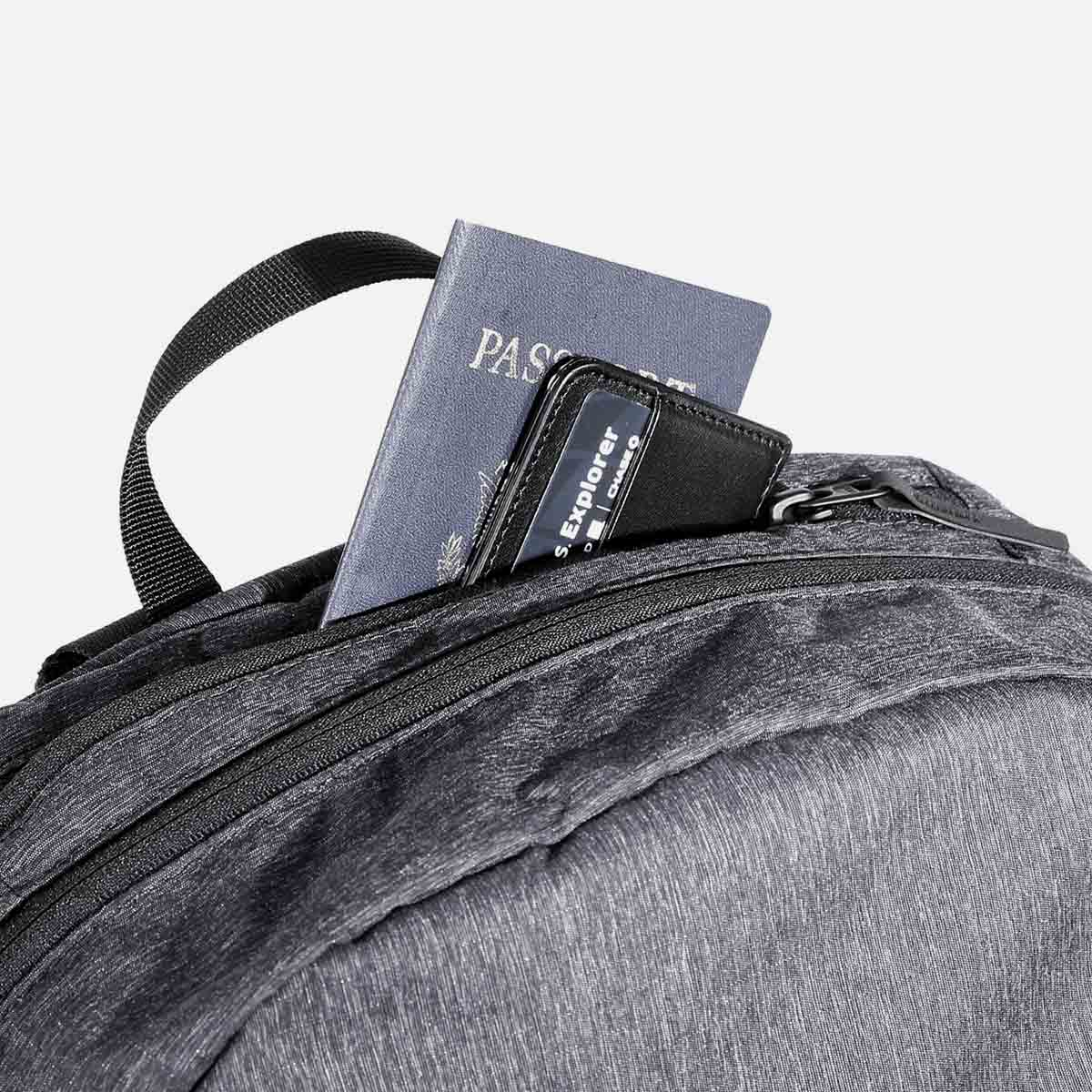 Quick-access pocket for travel documents.