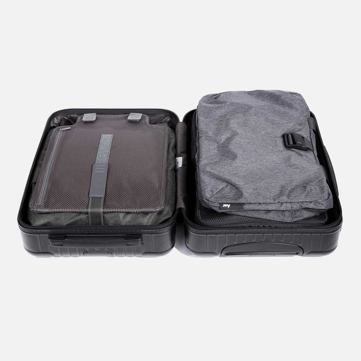 Packs flat inside luggage or carry-on bag.