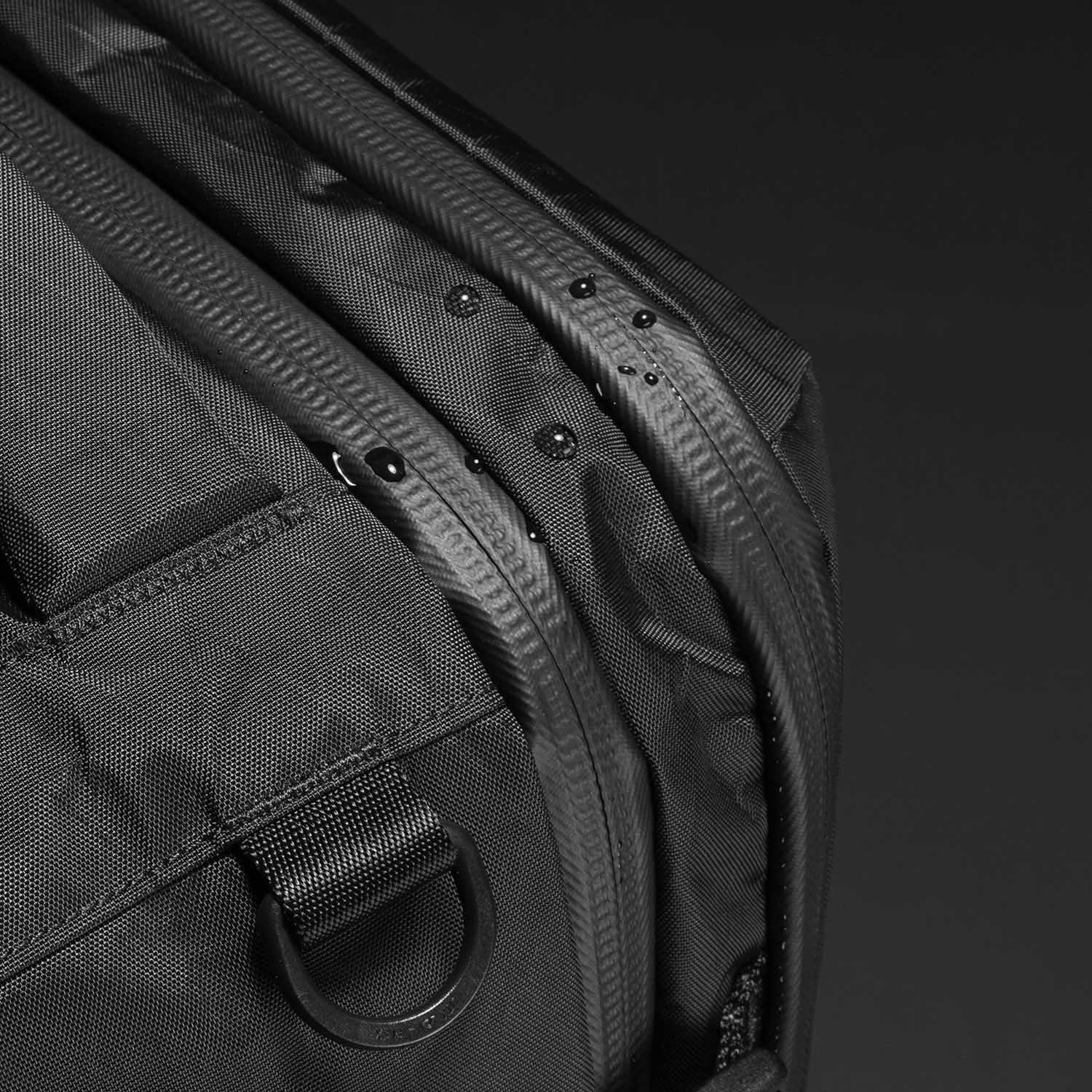 YKK® AquaGuard® zippers on all compartments (except shoe pockets).