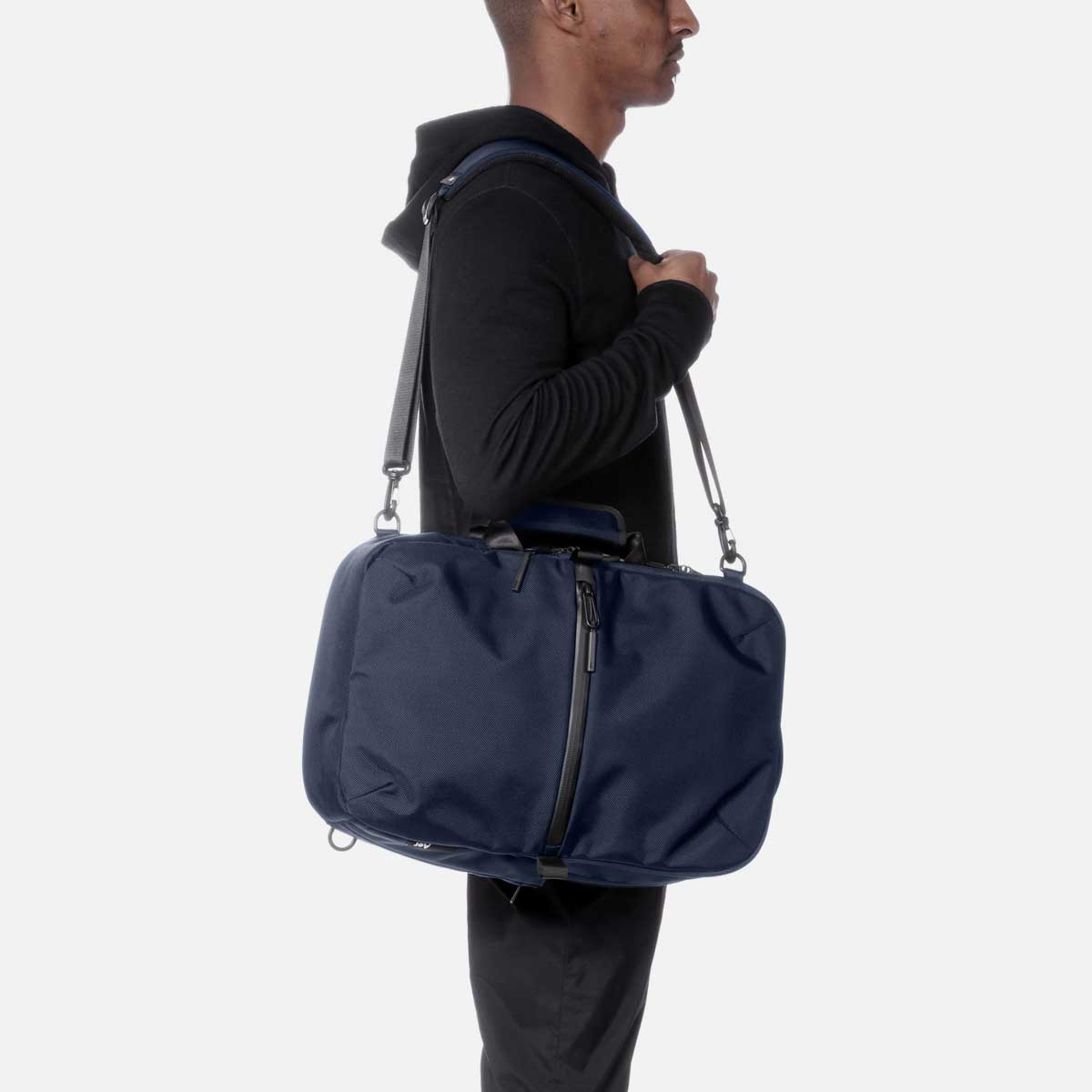 Converts to a shoulder bag or brief for work meetings.