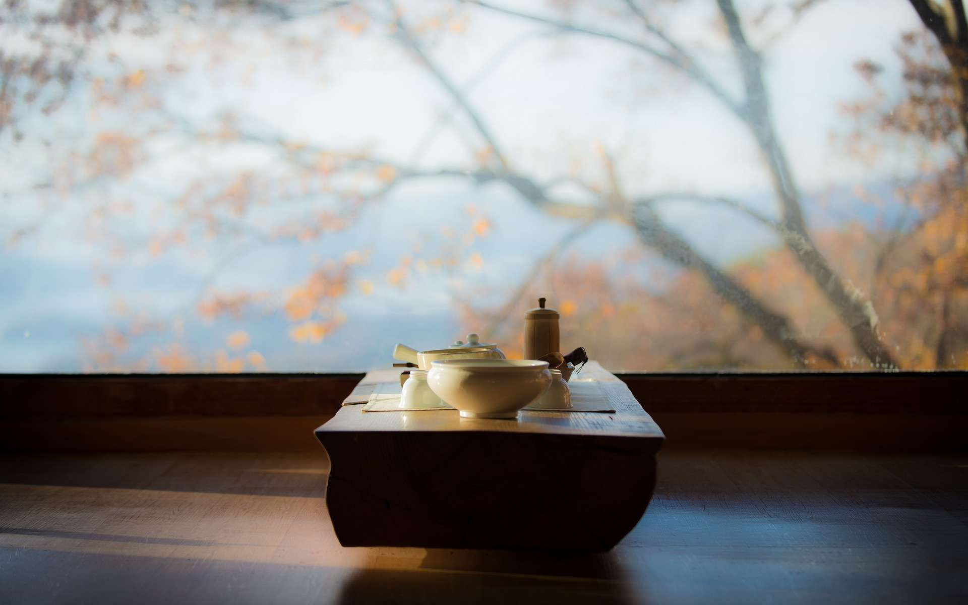 Autumn morning tea table, Fujian Province, China