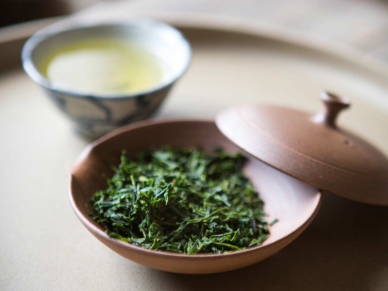 Japanese Shaded Sencha in a traditional  houhin  pot