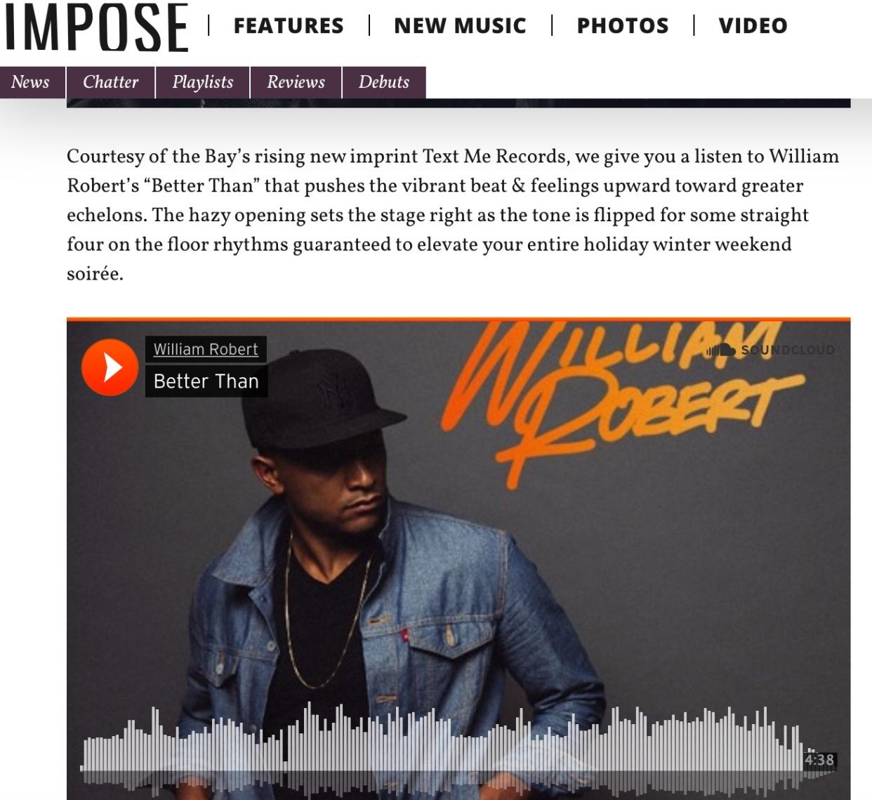 William Robert impose magazine weekend pop