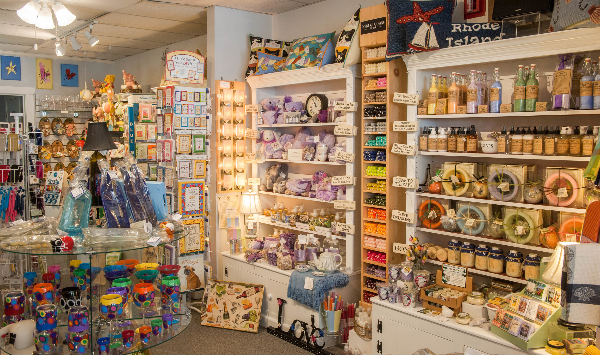 Lulabells carries glassware, candles, plush toys and cards in North Kingstown, Rhode Island.