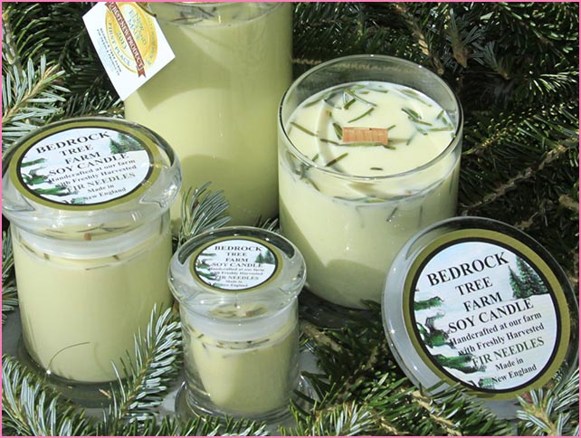 Bedrock Tree Farm  - Made at a family owned farm with all natural soy wax in the USA. Completely natural, clean burning and non-toxic, and made from renewable resources, including fir needles, which helps American farmers.