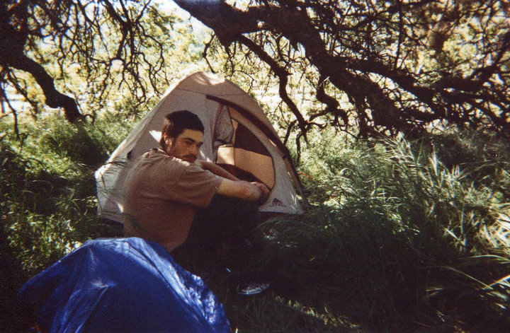 Leland waking up at our hidden camping spot