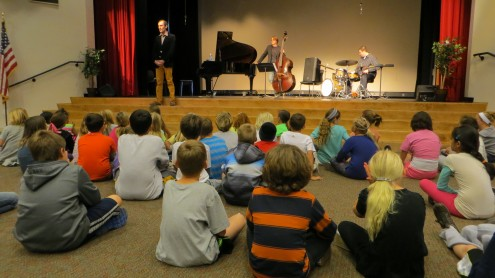 The Jesse Lynch Trio at R. Roger Rowe School. Courtesy photo. Rancho Santa Fe, CA.