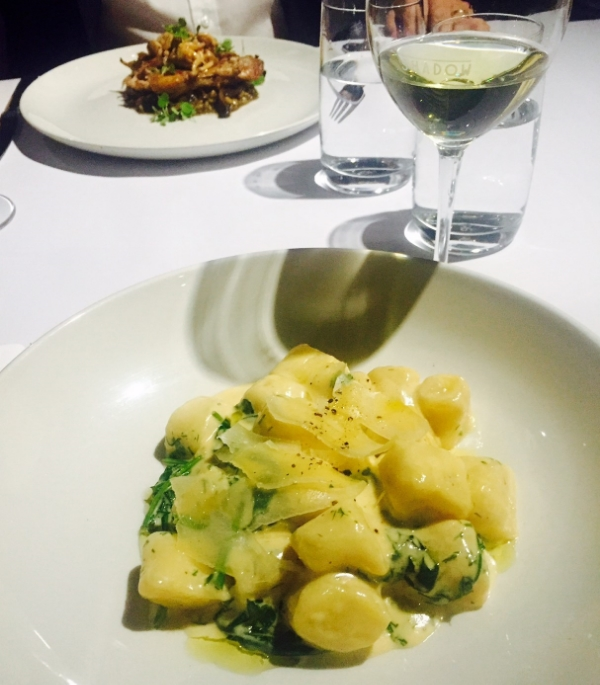 My gnocchi with CW's duck confit to the rear...