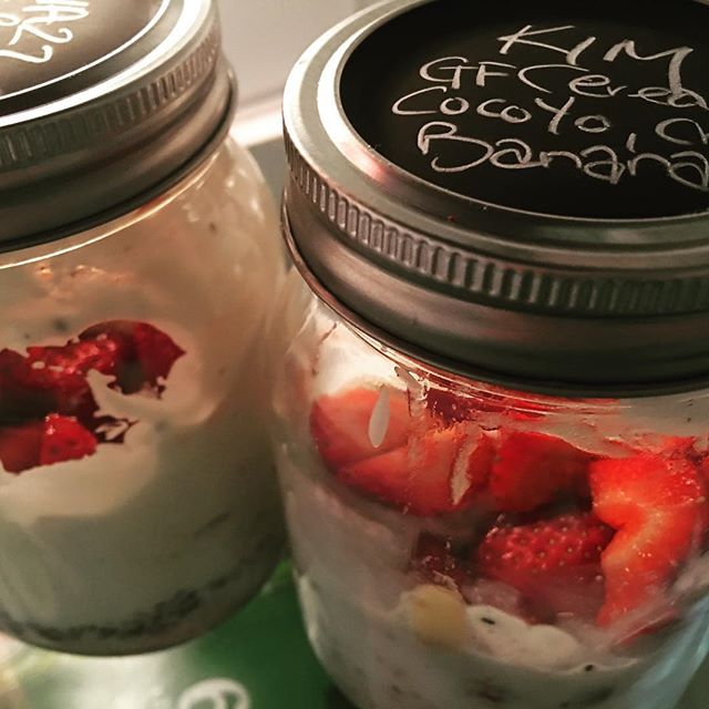 #overnightoats #firsttimewholefoods so I cracked the mason jars tonight. Literally room for improvement, but should be a tasty start to Monday! #getgoodfood