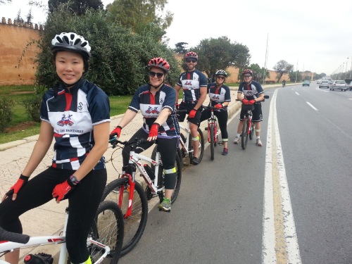 Riders from Los Angeles, California, enjoying a bike tour of Rabat!