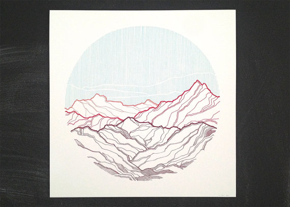 Take Me To The Mountains #2   | screen print