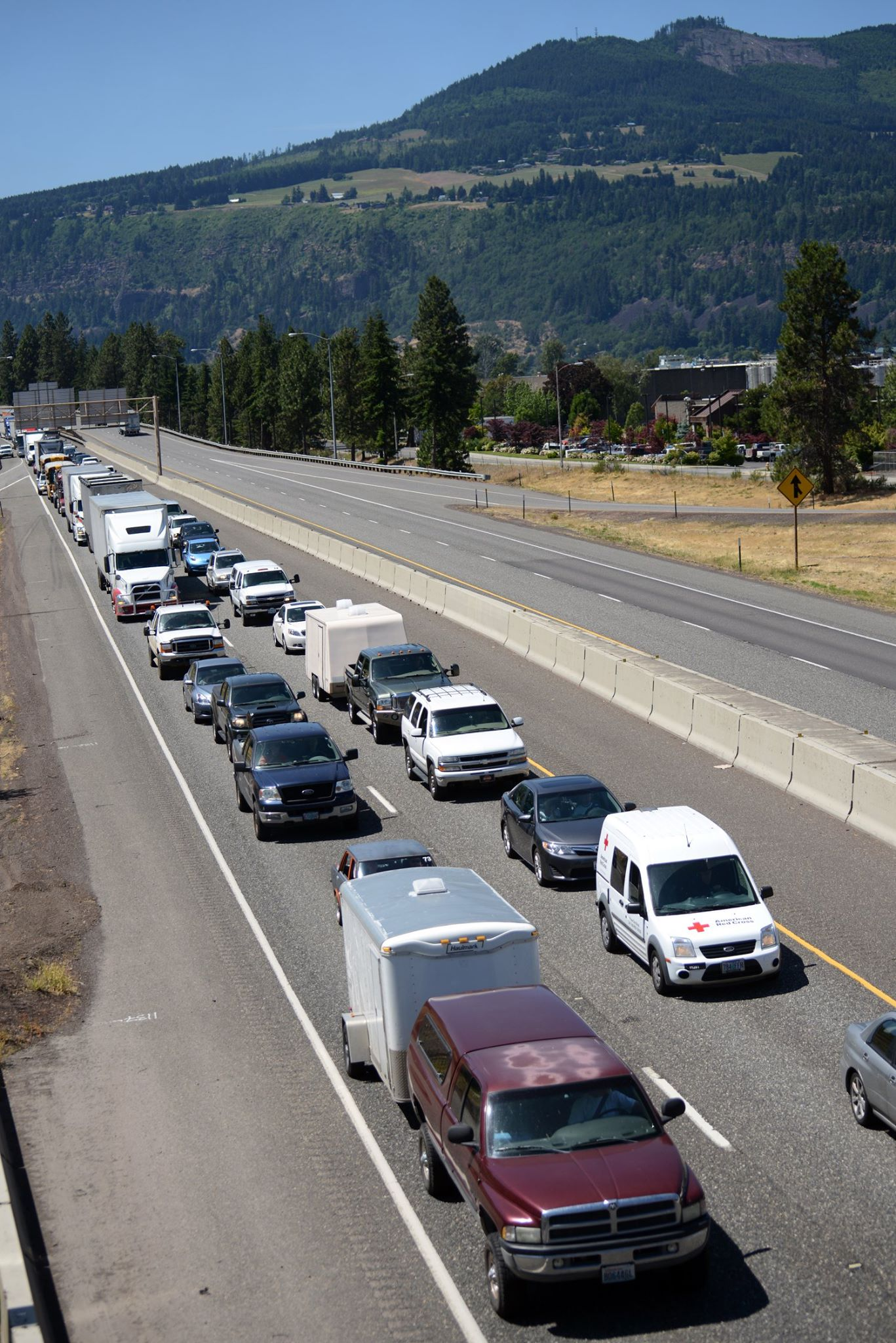 I-84 was backed up for hours - closed both ways into and out of Mosier.  You had to drive 4 hours to go 20 miles.   Photo by Hood River News