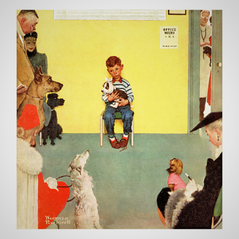 """At the vets"" by Norman Rockwell. Cover art for the  Saturday Evening Post  1952."