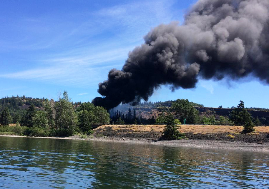 Our home town June 3 - train derailment in Mosier, OR.             Photo: Quintin Nelson, Hood River Sheriff's Office