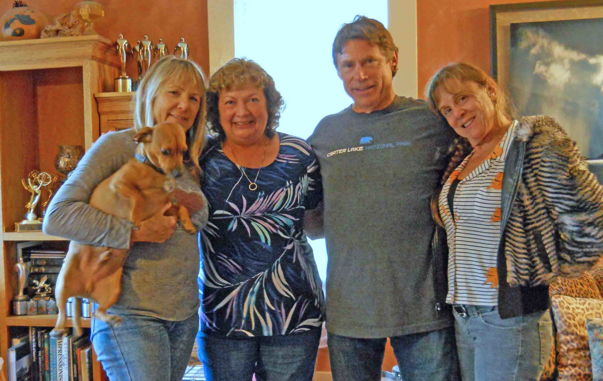 The people behind the dogs. Family members, left to right: Doodle, dog mom Barb, cousin Mel, Uncle Jerry, Aunt Danya. Photo: (c) Barb Ayers