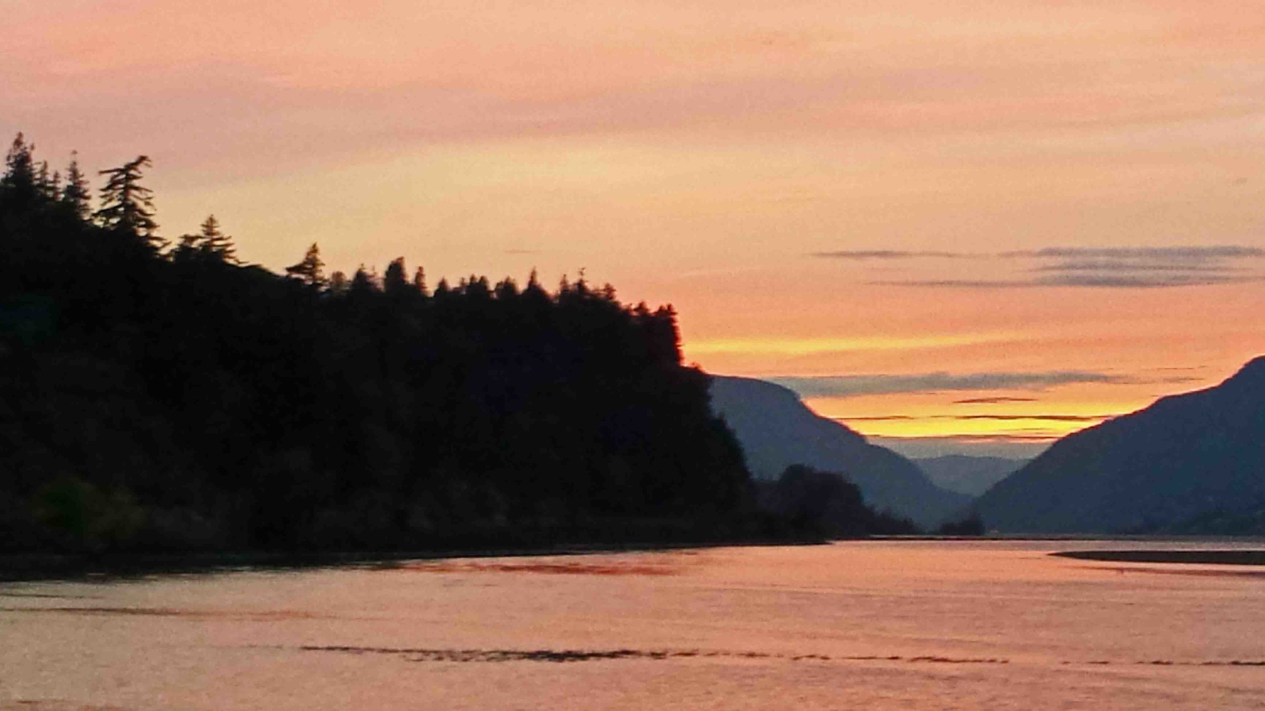 Salmon sunset - in more ways than one.   Photo: (c) Barb Ayers, DogDiary.org