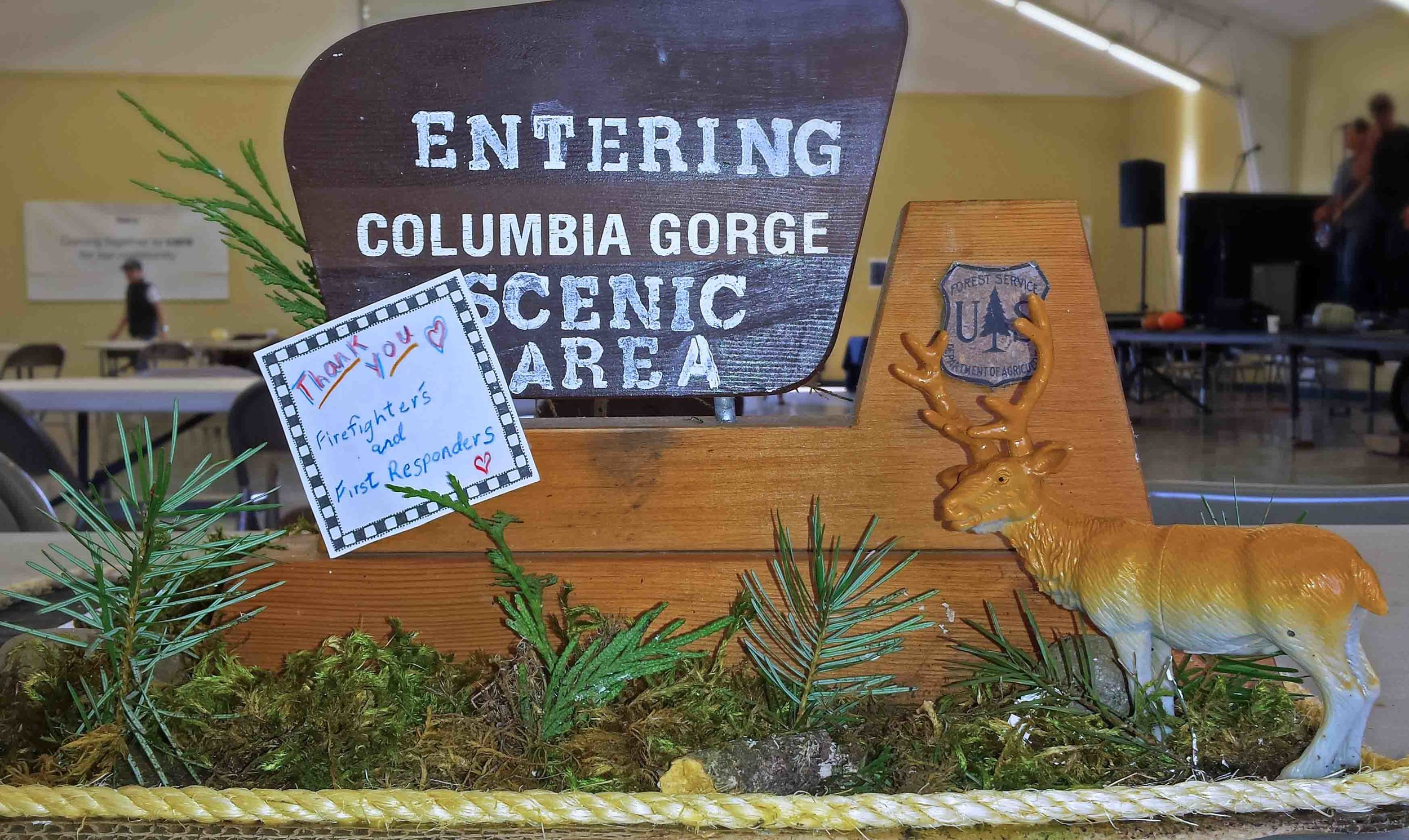 A miniature replica of the gateway to our Columbia River Gorge after the Eagle Creek Fire, hand made for the First Responder thank you party in Hood River.    Photo: (c) Barb Ayers, DogDiary.org