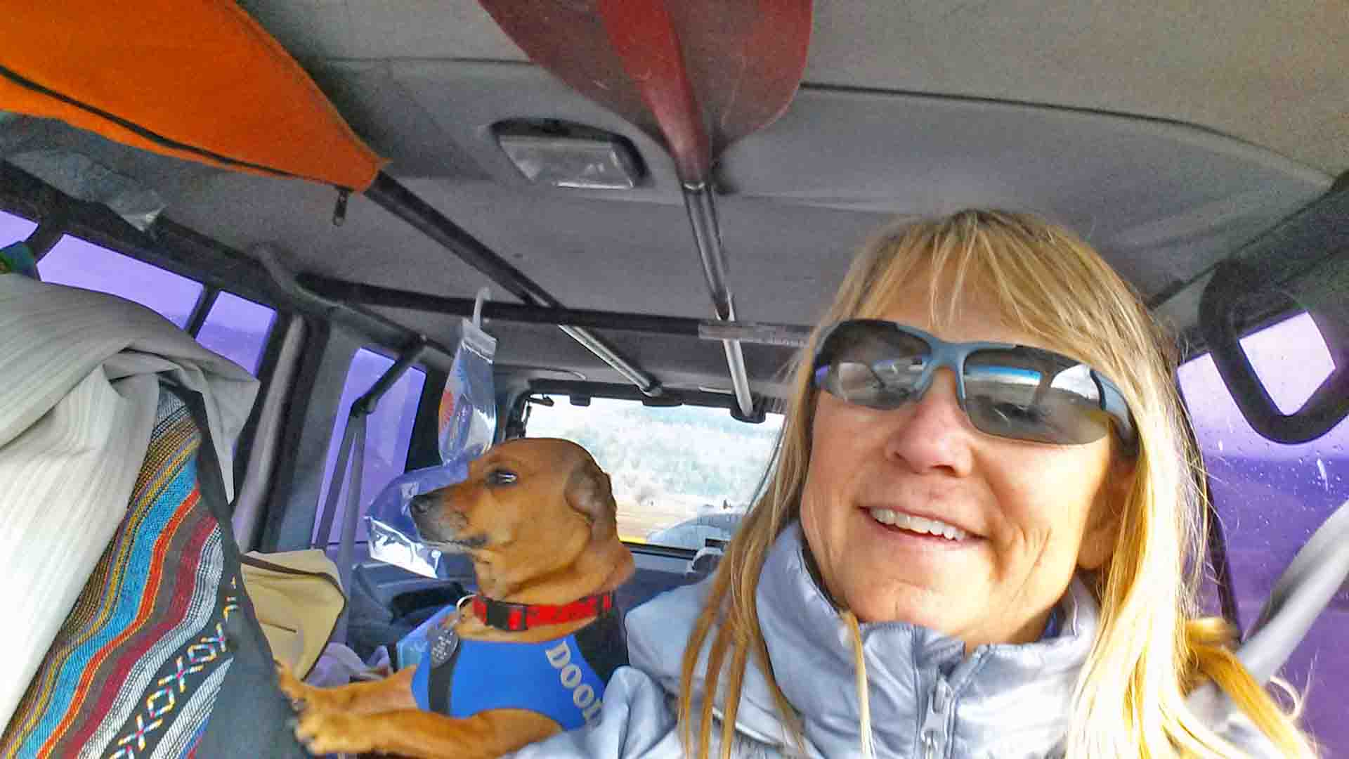 SUP pup day in winter - pares paddling!! Me and my Doodle. Photo: (c) Barb Ayers, DogDairy.org