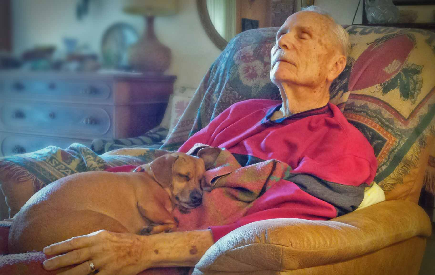 Grandpa Ayers and Doodle Ayers on a recent visit.      Photo: (c) Barb Ayers, DogDiary.org