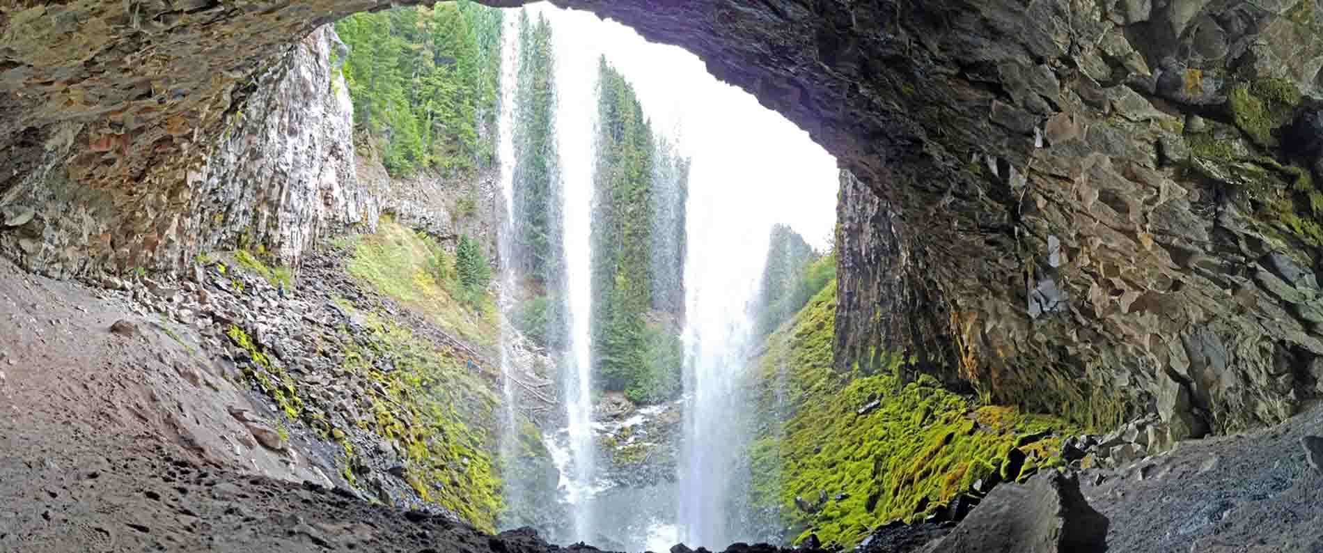 The view from behind the falls.  Photo: (c) Barb Ayers, DogDiary.org
