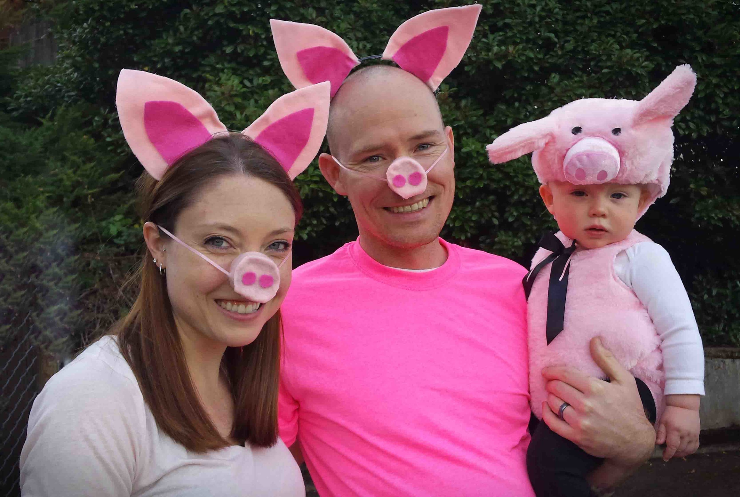 Three little piggies…. possibly the cutest family ever…  trick or treating with the Whitlocks - and their own little puppy, Alden, In Hood River, OR. Actual puppy not pictured (a full grown Husky.) Photo: (c) Barb Ayers, DogDiary.org