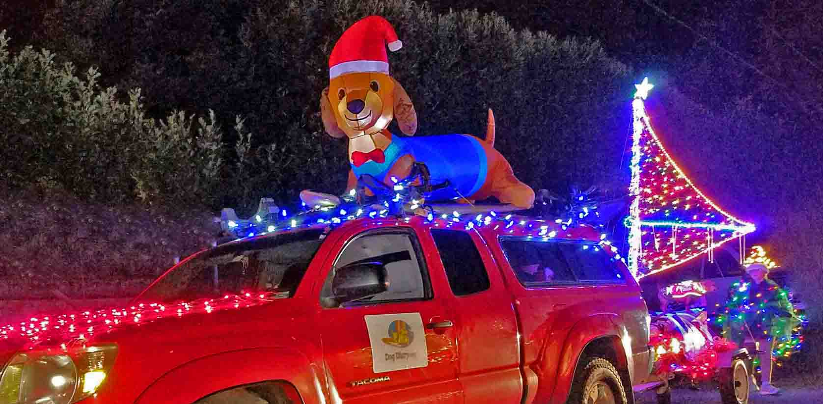 Surf dogs' 2018 Hood River Holiday parade float. Photo: (c) Barb Ayers, DogDiary.org