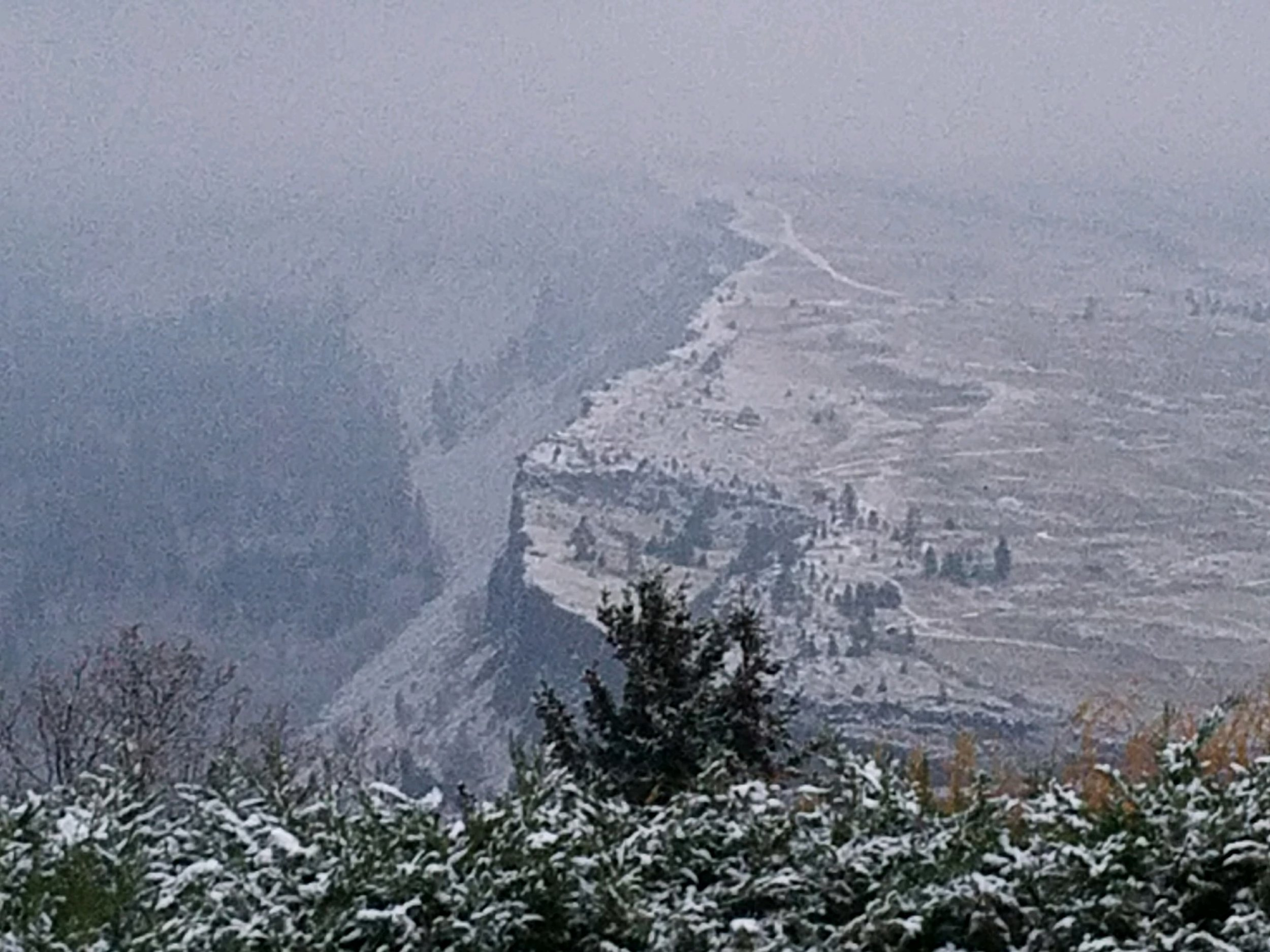 The front window view the morning after the parade. Holiday magic on our Columbia Gorge cliffs! Photo (c) Barb Ayers, DogDiary.org