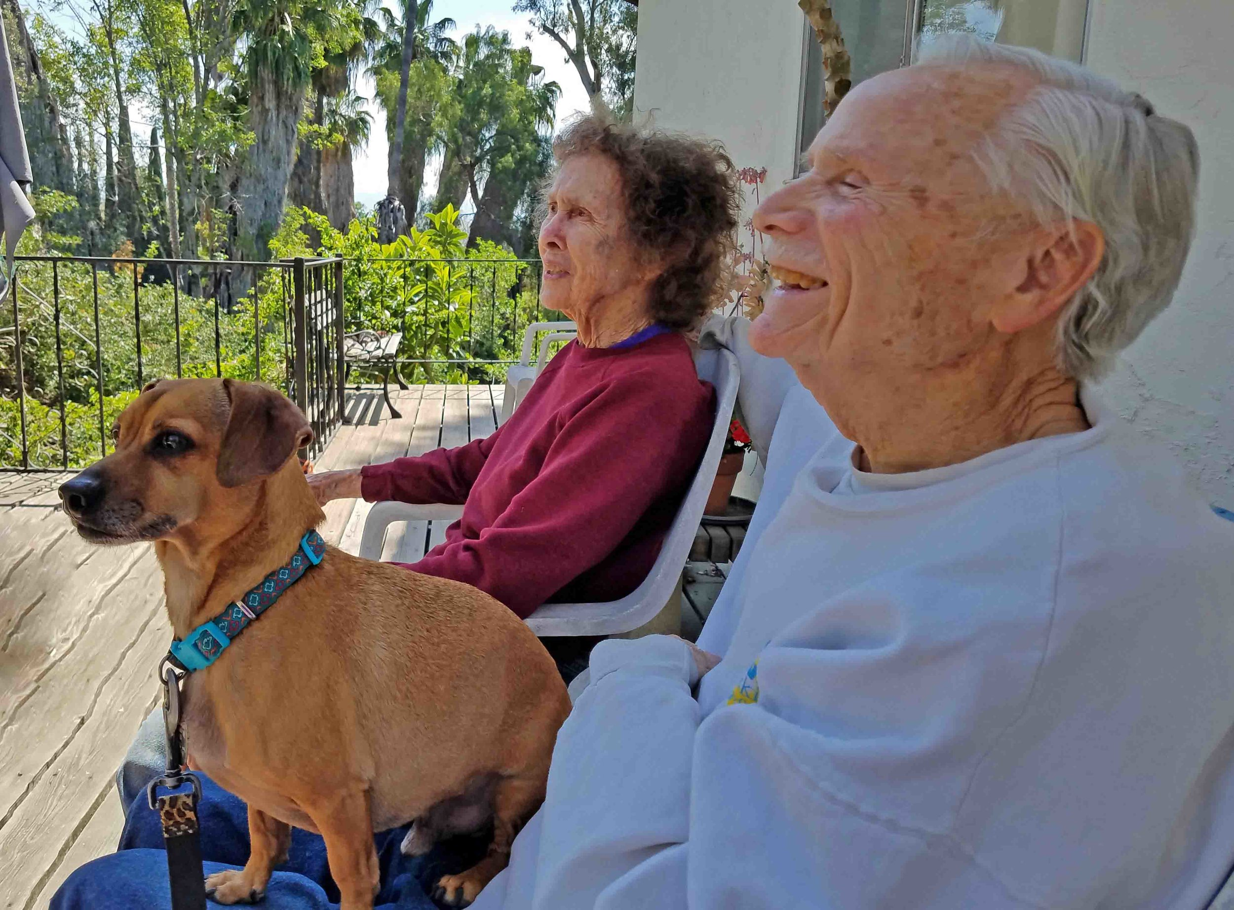 I love my folks. With Doodle, June 2019. Photo: (c) Barb Ayers, DogDiary.org