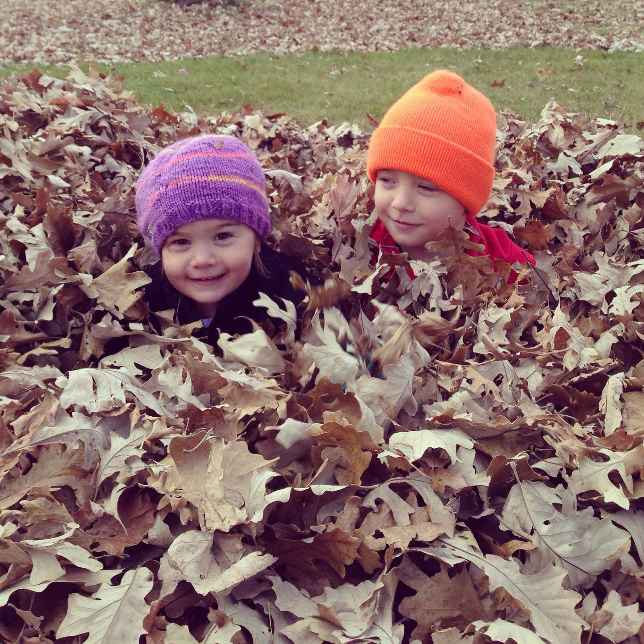 Karin's kids in leaf attire - Minna and Motts. Photo: (c) Karin Erickson