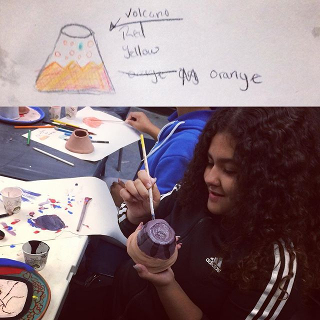 How to paint a volcano...#potteryoutreach #volcanoes #clay #bgcb Support our fundraiser on Kickstarter!