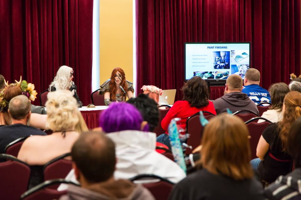 Hosting my Leveling Up Your Cosplay panel with Katie at Pensacon 2015.