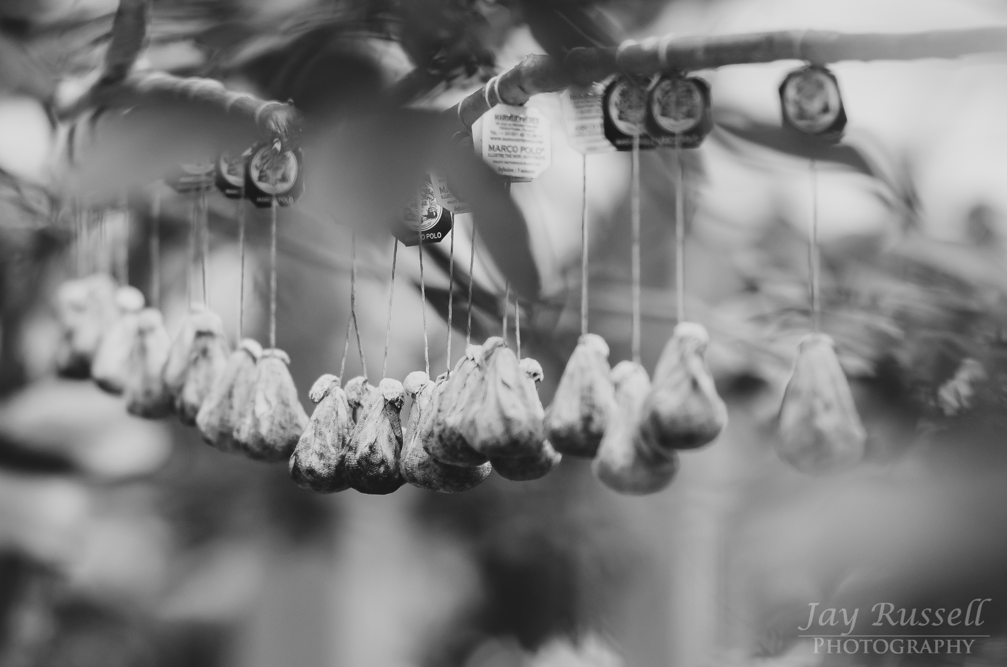 Hanging teabags in the Japanese pottery village