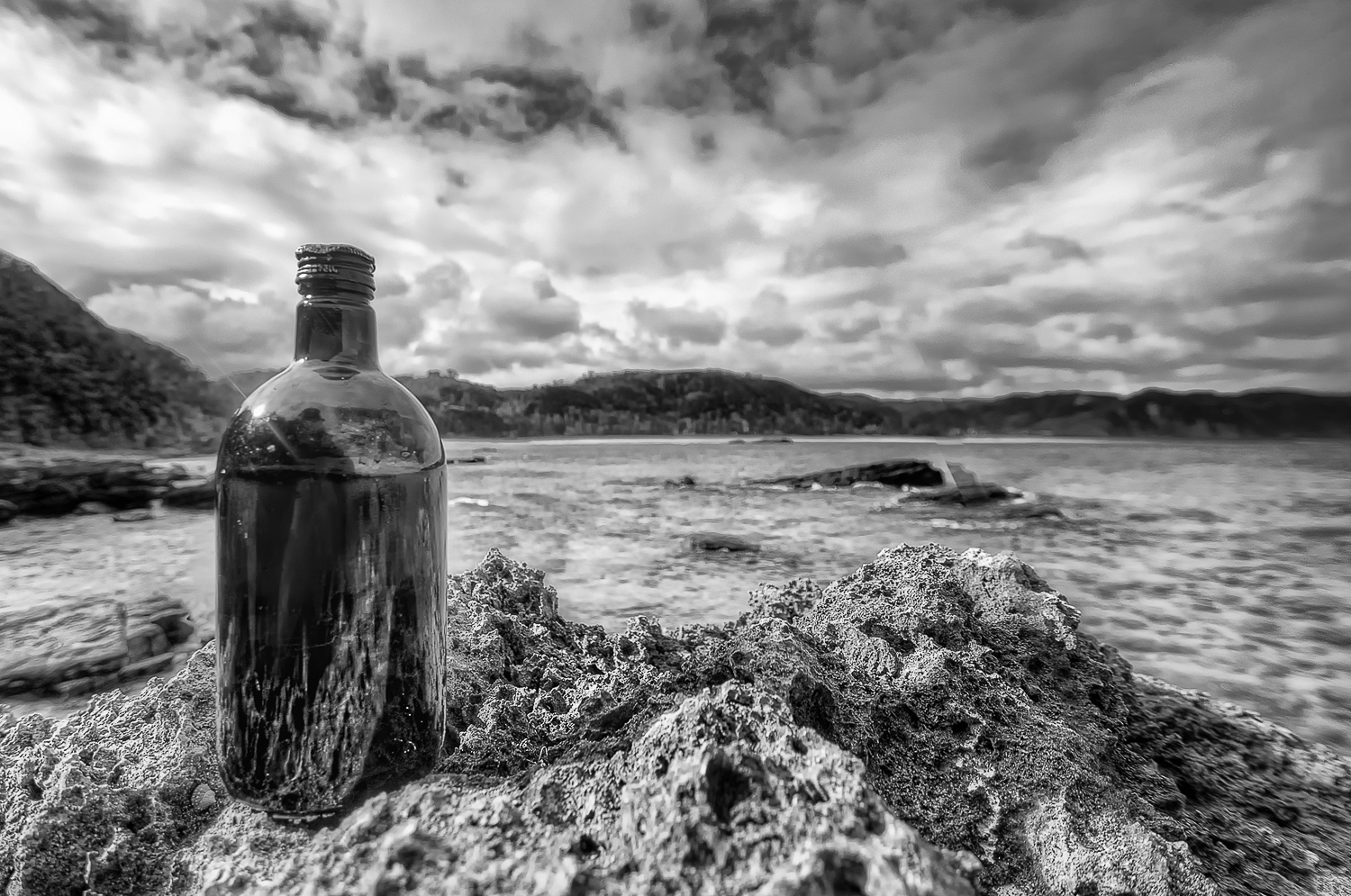 Bottle by the sea