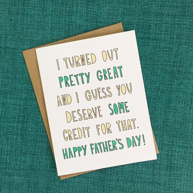 Give credit where credit is due - even if it's in a self-congratulatory manner. Shipped out a boatload of Father's Day cards this week - two weeks left to grab your own!
