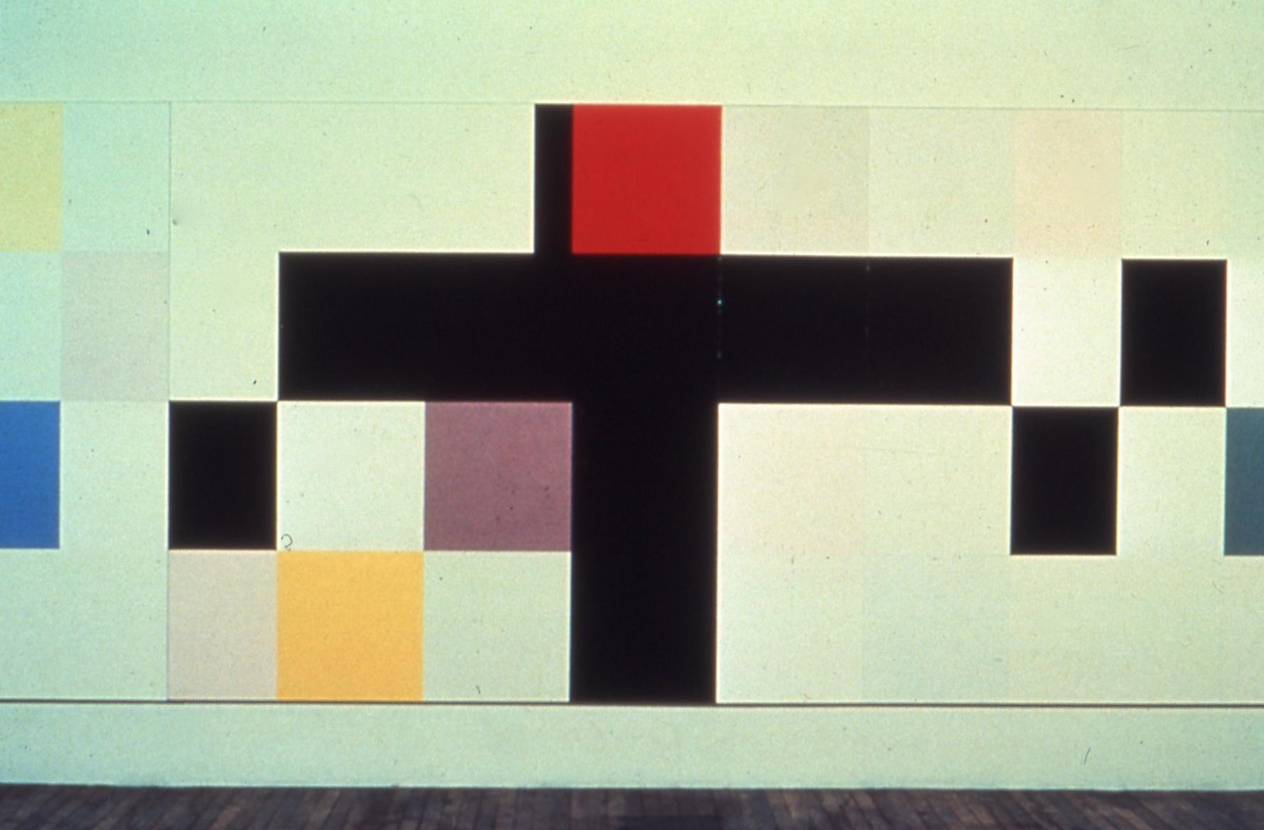 "Warfare and Please, 1976-7, oil on canvas, 76""x179"""