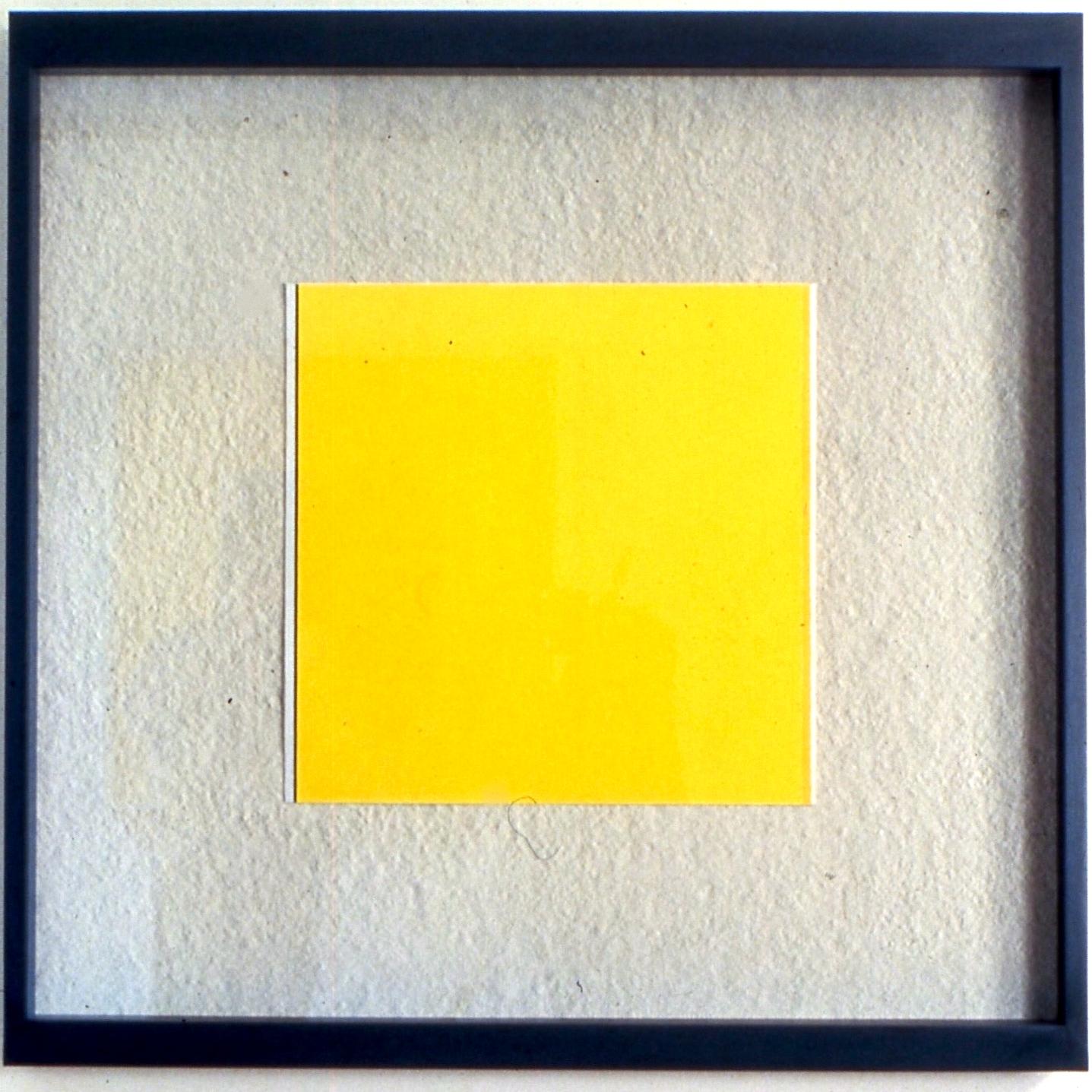 "Leftward Seduction, 1988, Gouache and photo frame, 38""x38"""