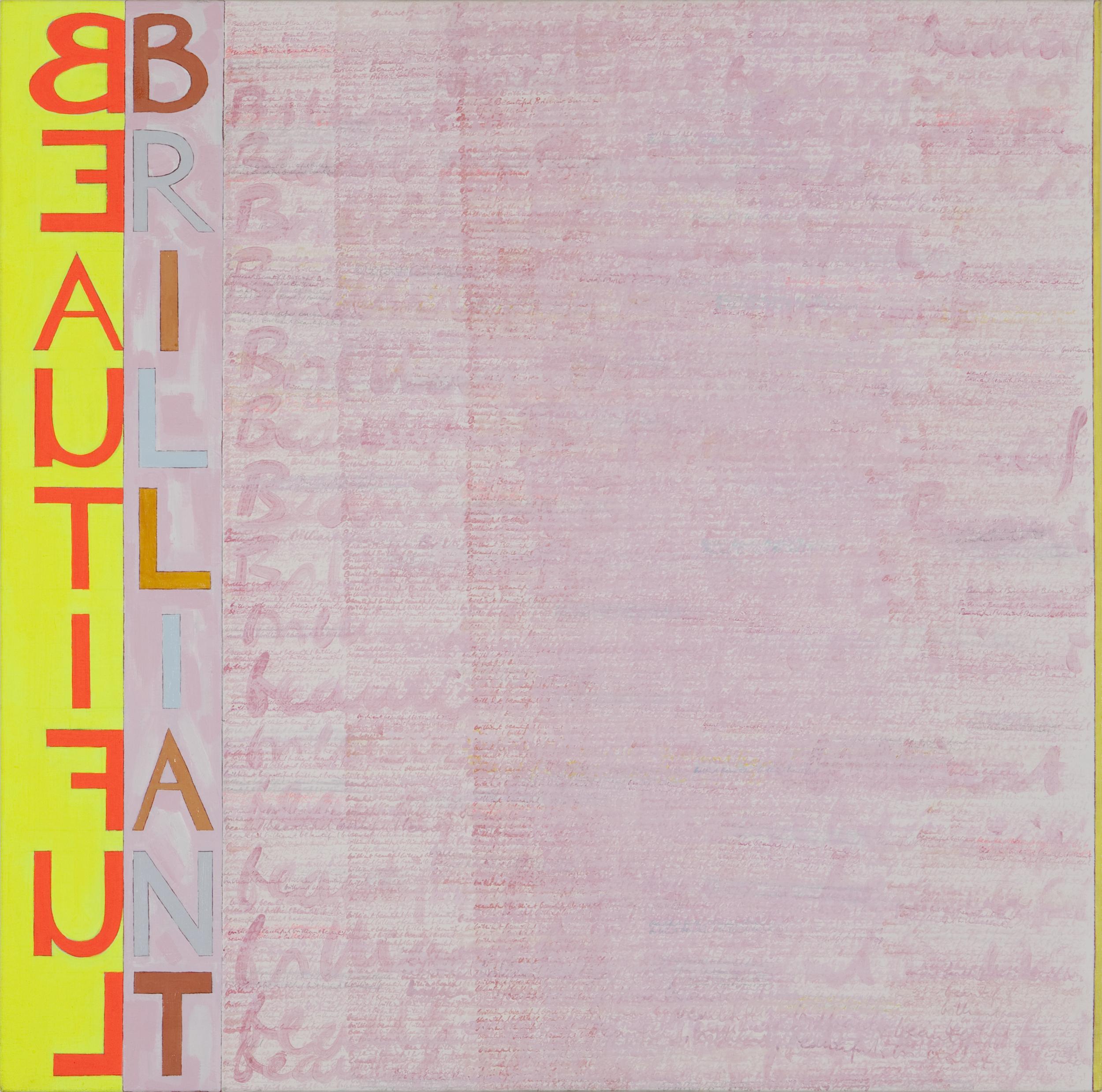 "Blasphemy, 1989, oil and vinyl on linen, 45""x45"""