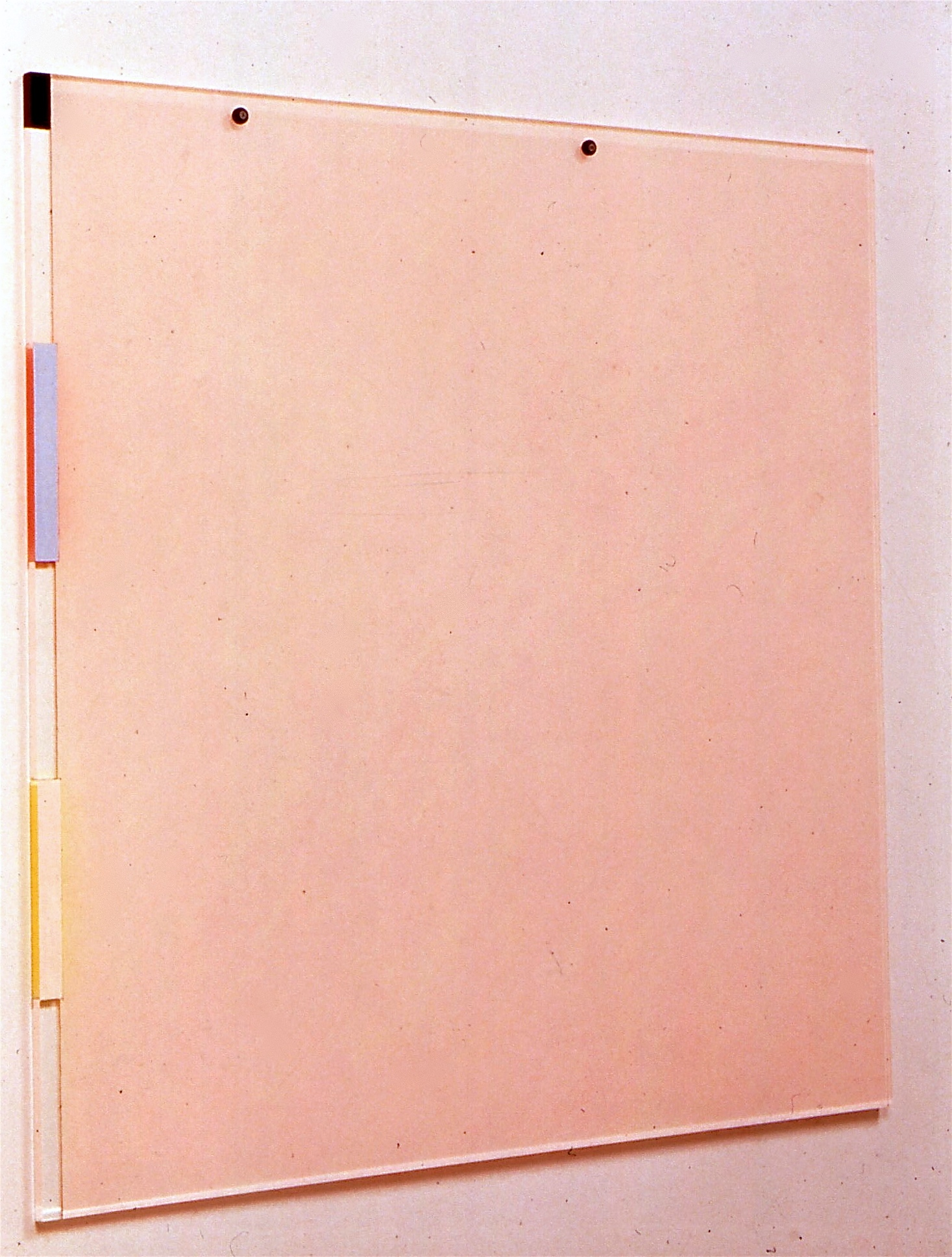 "Pink Desert (Contemporary Materials), 1991. vinyl on plexi (back and front), 42""x42""x2"" (detail)"