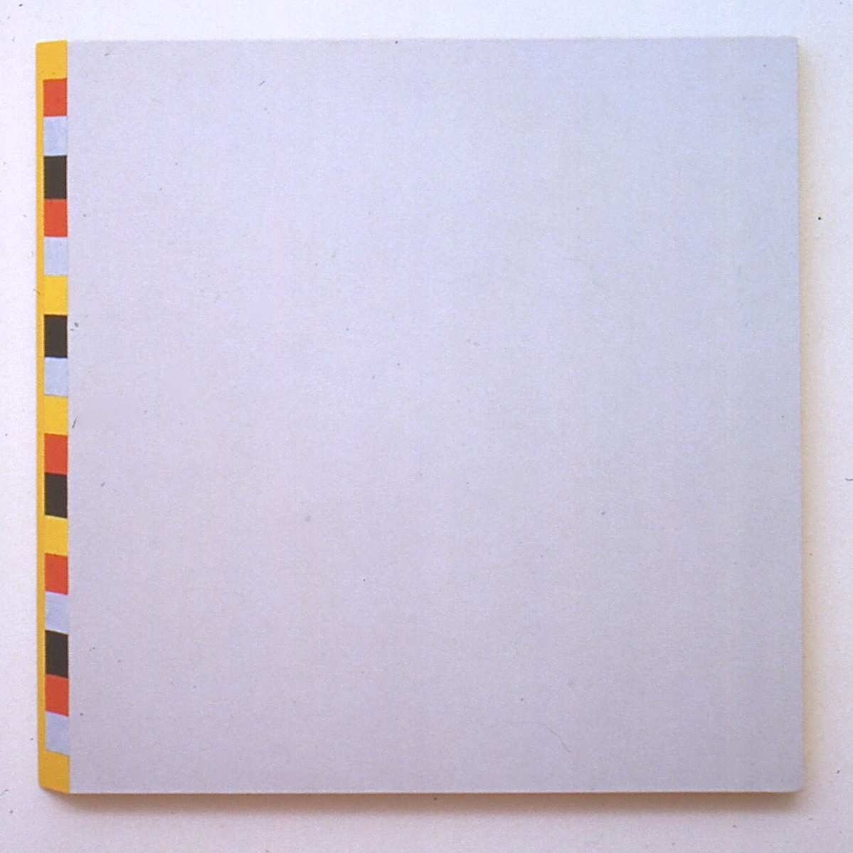 "Grey and Minimal but with an Oblique Edge, 1995, oil on linen, 34 1/4""x34 1/4""x1 3/4"""