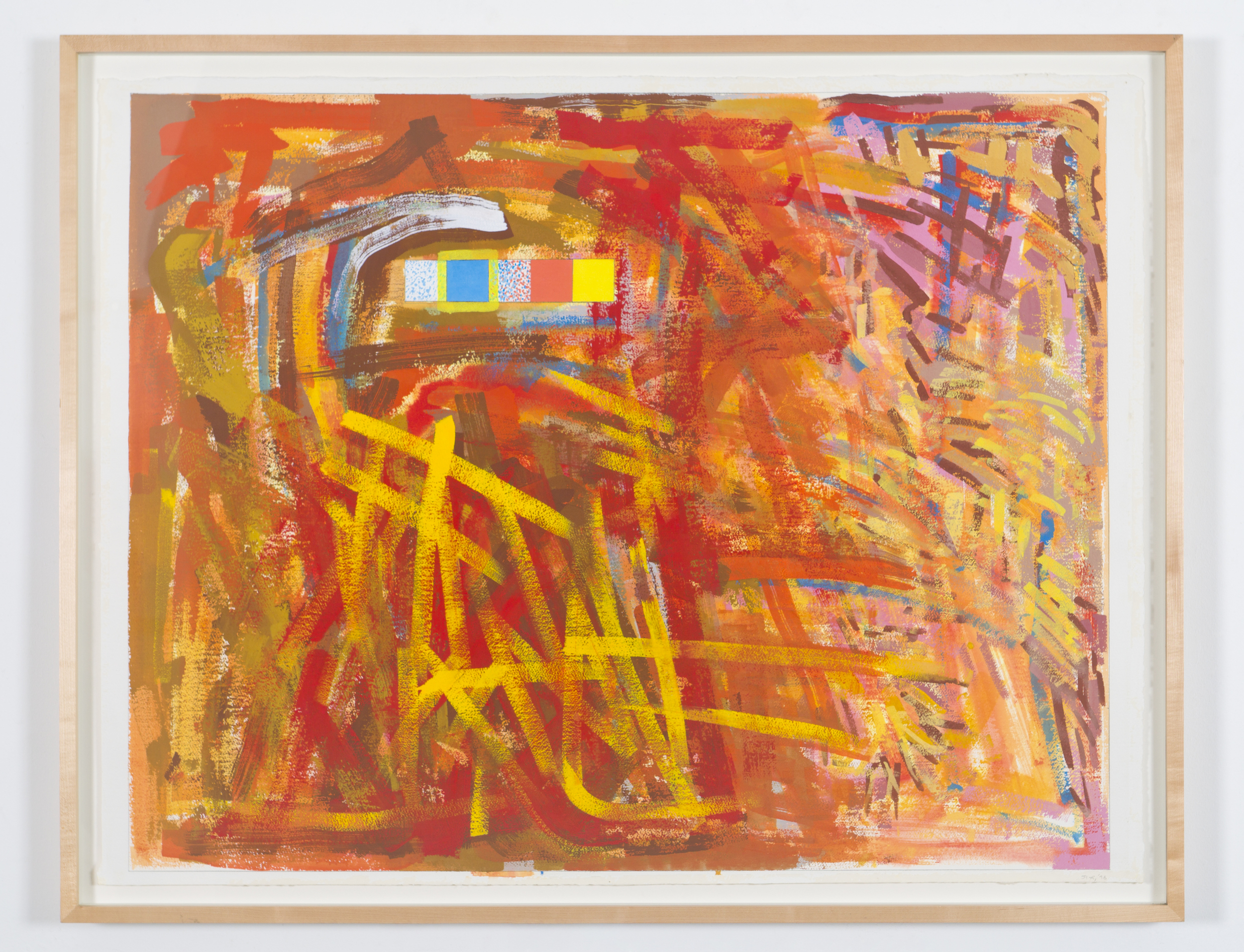 "Untitled, 1998, gouache on paper, 39 1/2""x50 1/2""(framed)"