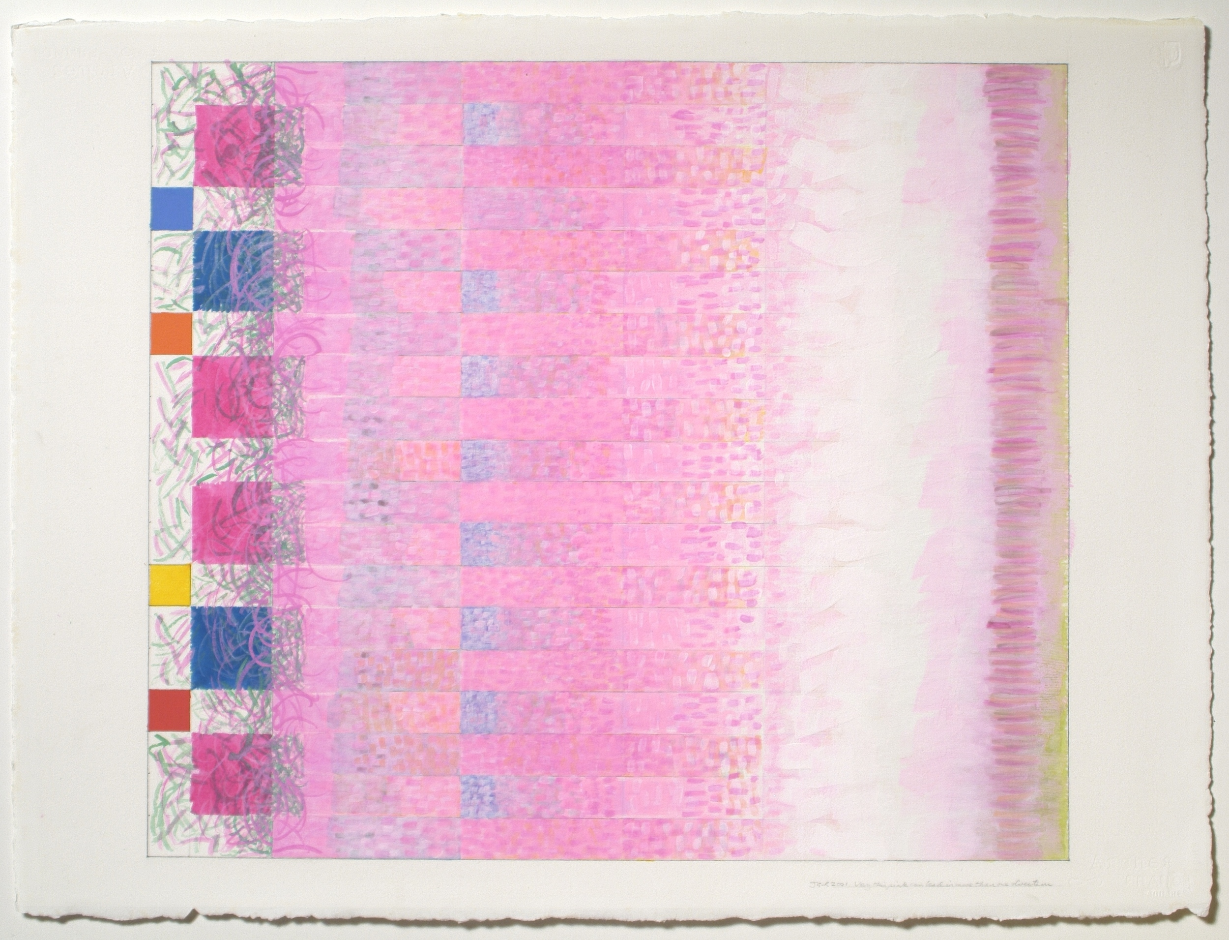"""Very Thin Paint Can Lead in More Than One Direction, 2001, gouache on paper, 20 3/16""""x23 3/8"""" (image), 22 3/4""""x30 1/2"""" (paper)"""