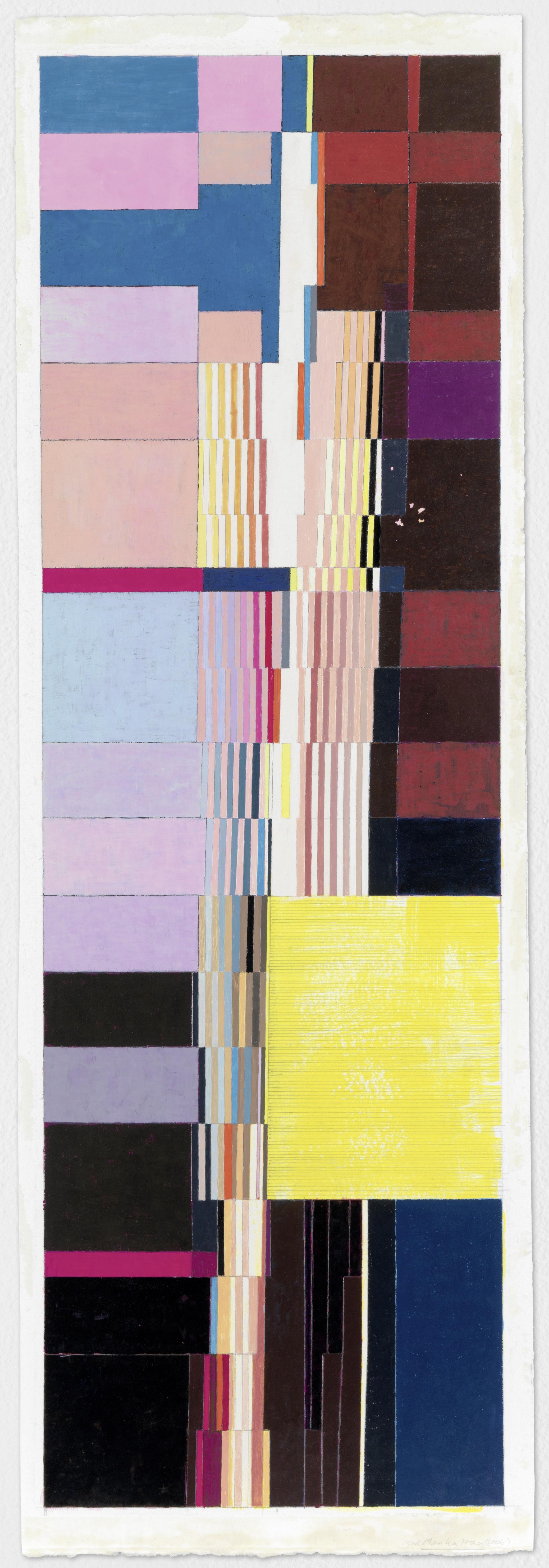 "Manhattan (PG64), 2004, gouache on paper, 28""x9"""