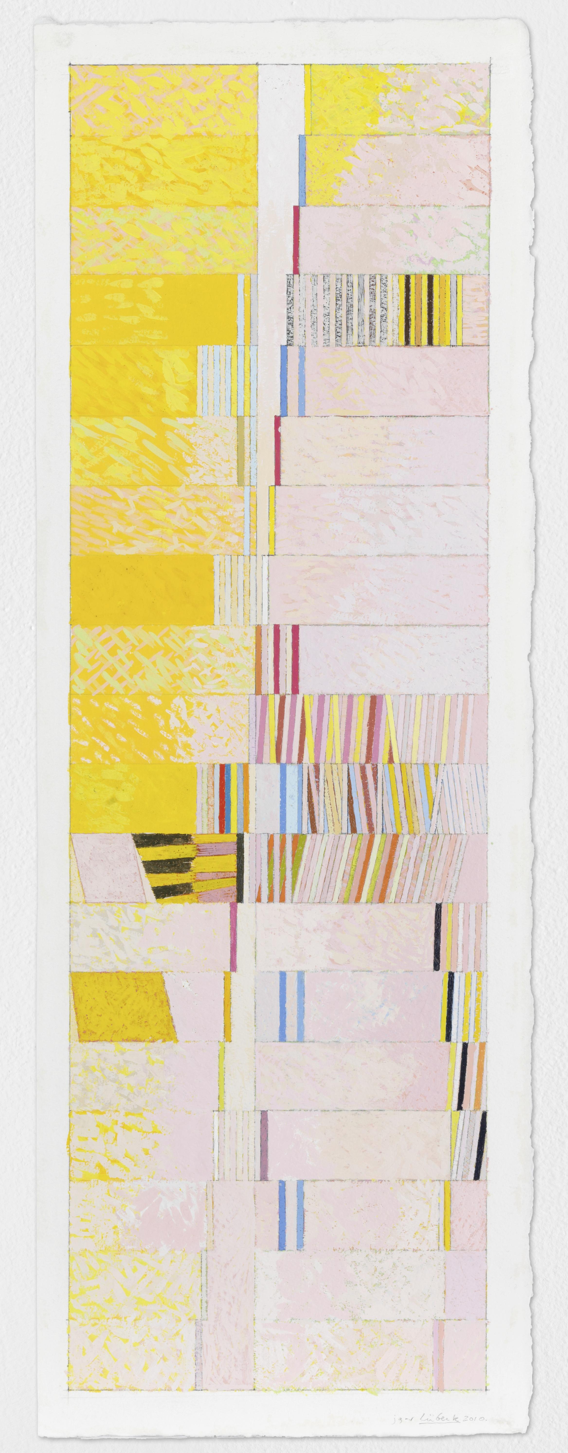 "Lübeck, 2010, gouache on paper, 30""x10 1/2"""